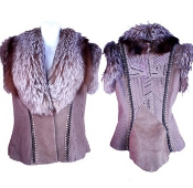 Taupe leather jacket with fox trim and white opals